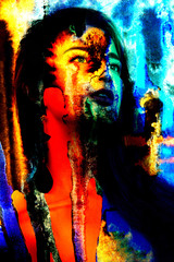 Art project. Portrait of young girl in art colorful paint Beautiful woman painted with many vivid colors.