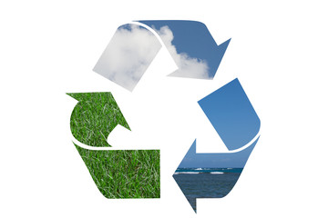 Recycle Symbol with water, sky and grass