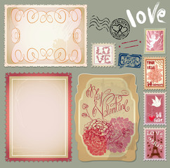 Set of vintage postcards with a beautiful hand drawing roses and