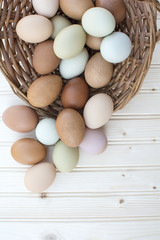 Fresh organic chickeneggs in old dusty basket on wooden backgrou