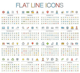 Vector illustration of thin line color icons business, banking, contact us, social media, technology, logistic, education, sport, medicine, travel and weather. Flat symbols set