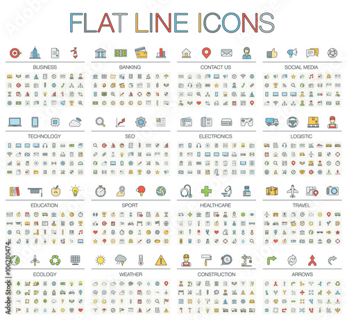 Vector Illustration Of Thin Line Color Icons Business Banking