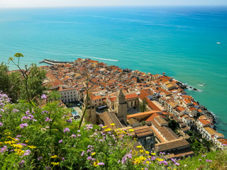 Cefalu and flowers at spring