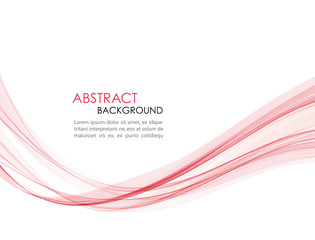 Abstract vector background red wavy