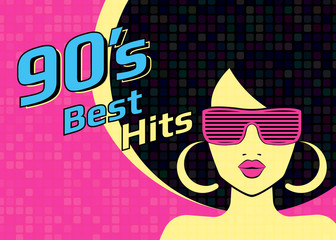 Best hits of 90s illistration with disco woman wearing glasses on pink background. Bright illustration for retro party flyer or poster
