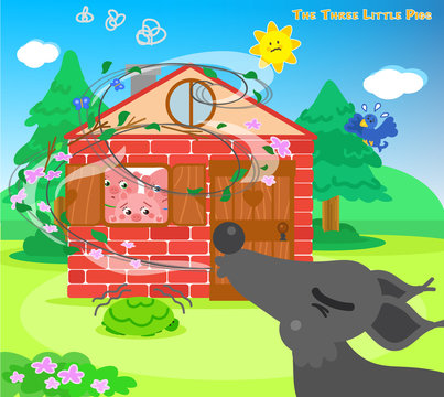 The three little pigs are hiding in the bricks house while the big bad wolf is blowing
