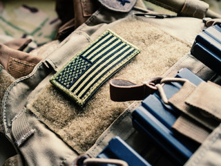 Green U.S. Flag On The Bulletproof Vest