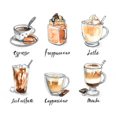 Collection of different coffee - espresso, frappuccino, latte, iced coffee, cappuccino, mocha