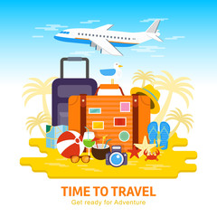 Travel to World, flat design vector illustration. Summer Vacation, tourism, holiday, suitcase ready for adventure. Summertime relaxing on beach. Trip, journey, traveling, colorful banner