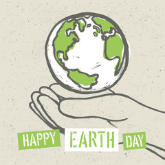 Earth symbol in hands. Vector
