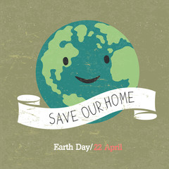 Vintage Earth Day Poster. Cartoon Earth Illustration. Text on wh