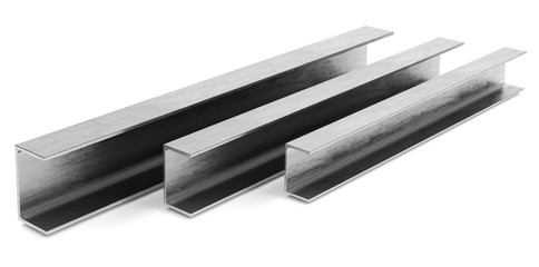 steel channel beam on a white background