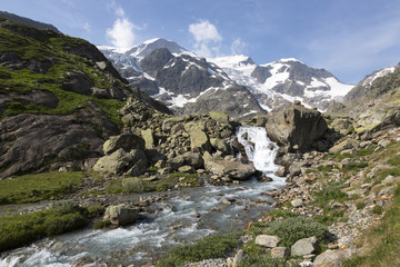 High Alps in the Bernese Oberland in Switzerland with creek
