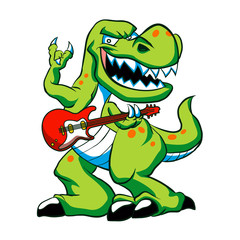 Dino rock plays a guitar.
