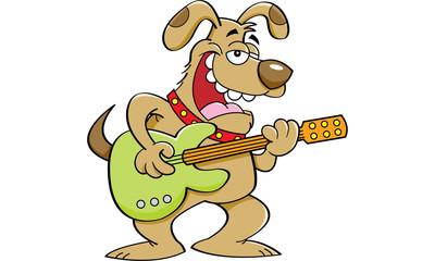 Cartoon illustration of a dog playing a guitar.