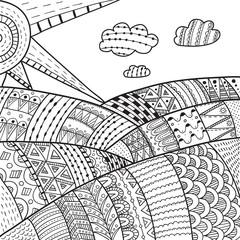 Landscape with Fields. Vector doodle illustration