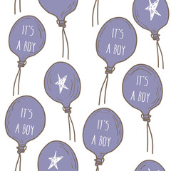 Pattern 'It's a boy' with inscription on balloon