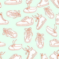 Seamless pattern with sneakers .