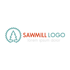Sawmill logo line design template, sawmill sign, vector illustration