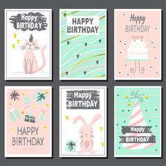 Set of six children's birthday cards.