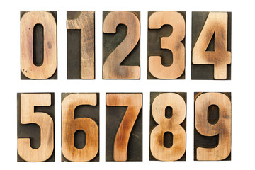 Vintage letterpress numbers printing blocks isolated on white