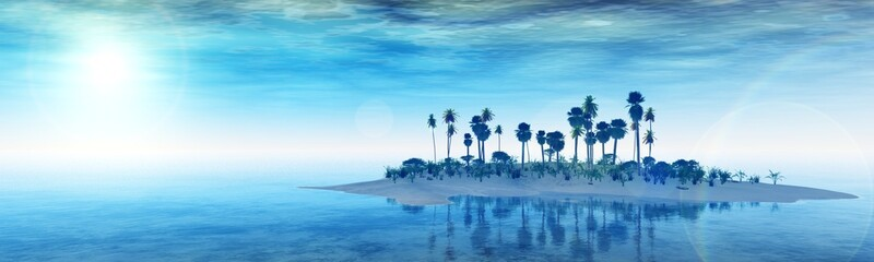 beautiful island in the ocean, sunset over a tropical island. panorama sea sunrise. banner. 3D redering.
