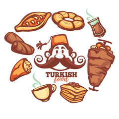 turkish food, cartton collection for your menu