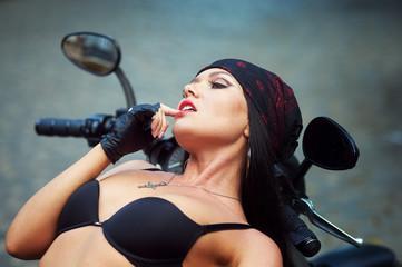 biker girl motorcycle in the city