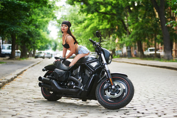 biker girl motorcycle in the city