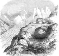 Pavilion Aare glacier, vintage engraving.