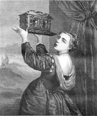 Cassette, after the painting of Titian, vintage engraving.