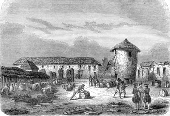 Ruins of Fort Oueida, Slave side, vintage engraving.