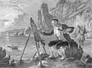 The marine painter, vintage engraving.