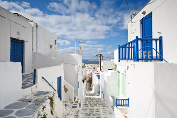 Traditional architecture in the town of Mykonos, Greece.