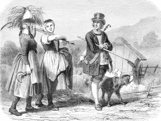 Costumes of Baden, vintage engraving.
