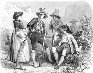 Tyrolean costumes, vintage engraving.