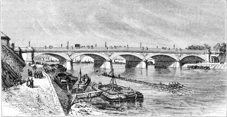 View of the new Pont d'Austerlitz, vintage engraving.