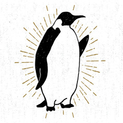 Hand drawn textured icon with emperor penguin vector illustration
