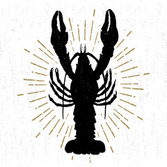 Hand drawn textured icon with lobster vector illustration