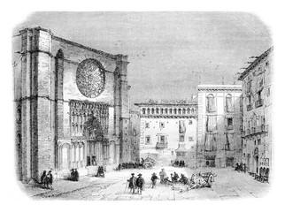 Church of Santa Maria del Pi, vintage engraving.