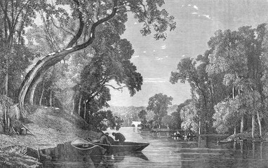 A River, vintage engraving.