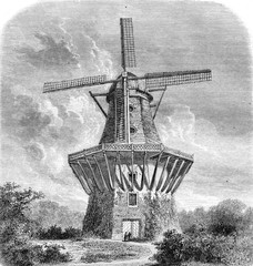 The Mill of Sans Souci, vintage engraving.