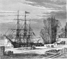 The Paris Sea port at Saint-Nicolas Port, Paris, vintage engravi