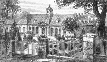 Courtyard and facade of Luxeuil Baths, vintage engraving.