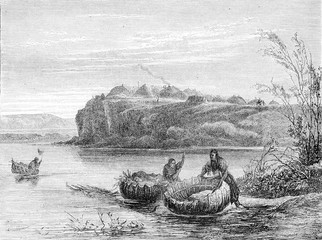 Mandan village and boats, vintage engraving.