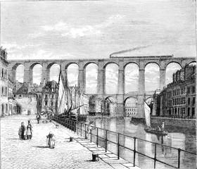 The Viaduct Morlaix, vintage engraving.