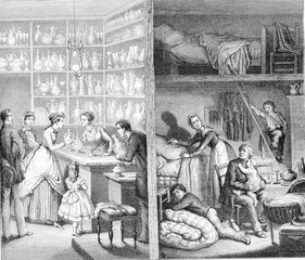 Shop and back shop in Paris, vintage engraving.