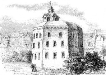 The Globe Shakespeare theater in Southwark, vintage engraving.