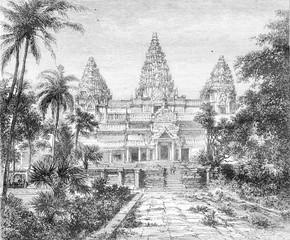 Ruins at Angkor Wat overview, vintage engraving.