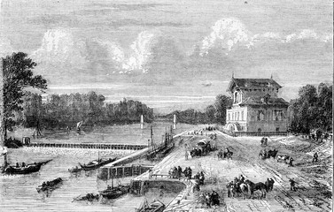 Dam on the Seine at Suresnes, vintage engraving.